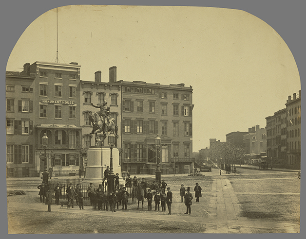 Attributed to Silas A. Holmes, photographer (American, 1820 - 1886)14th Street with Union Square and Washington Monument, about 1855, Salted paper printImage: 31.1 x 40.3 cm (12 1/4 x 15 7/8 in.) Mount: 42.2 x 46.7 cm (16 5/8 x 18 3/8 in.)The J. Paul Getty Museum, Los Angeles. Digital image courtesy of the Getty's Open Content Program.