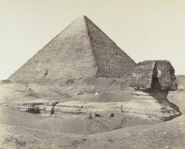 Francis Frith, photographer (English, 1822 - 1898)The Great Pyramid and the Sphinx, 1858, Albumen silver printSheet: 39.5 x 49.1 cm (15 9/16 x 19 5/16 in.) Mount: 56 x 76 cm (22 1/16 x 29 15/16 in.)The J. Paul Getty Museum, Los Angeles. Digital image courtesy of the Getty's Open Content Program.