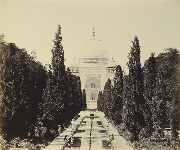 Felice Beato, photographer (English, born Italy, 1832 - 1909)Henry Hering, printer (British, 1814 - 1893)Entrance View of the Taj, negative 1859; print 1862, Albumen silver printImage: 25.4 x 30.8 cm (10 x 12 1/8 in.) Mount: 37.3 x 45.7 cm (14 11/16 x 18 in.)The J. Paul Getty Museum, Los Angeles. Digital image courtesy of the Getty's Open Content Program.