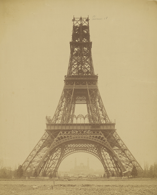 Louis-Émile Durandelle, photographer (French, 1839 - 1917)The Eiffel Tower: State of the Construction, November 23, 1888, Albumen silver printImage: 43.2 x 34.6 cm (17 x 13 5/8 in.) Mount: 65 x 50 cm (25 9/16 x 19 11/16 in.) Mat: 71.1 x 55.9 cm (28 x 22 in.)The J. Paul Getty Museum, Los Angeles. Digital image courtesy of the Getty's Open Content Program.