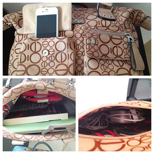 1. Lleva tu teléfono y documentos importantes a la mano. 2. Todo en orden adentro de tu bolsa. 3. Los enchufes y audífonos en una bolsa aparte. Foto © Silvia Lucero