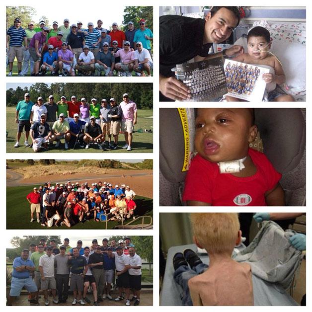 A la izquierda, imágenes de los torneos anteriores del Tristin Open. A la derecha, algunos de los niños que han recibido ayuda a través de los donativos.
