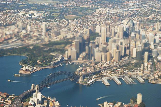 La hermosa Sidney vista desde el avión. Foto © Patrick Mreyen