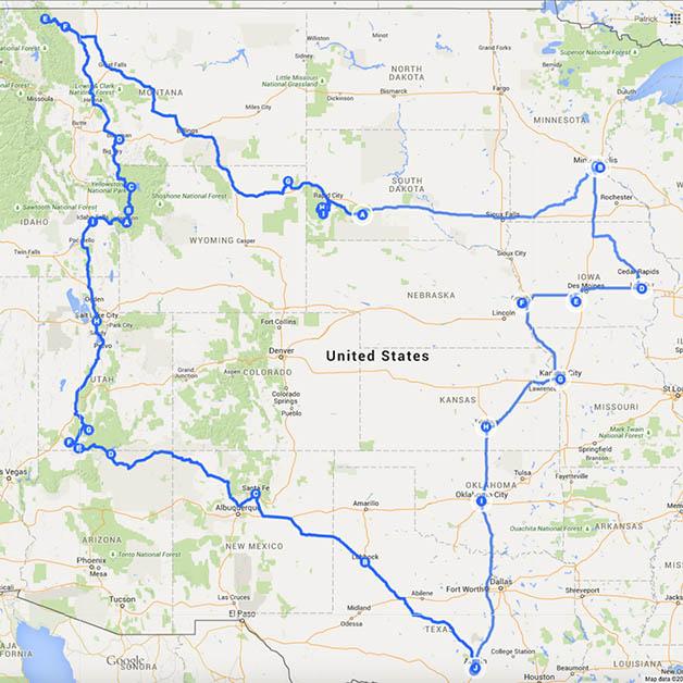 Nuestro recorrido por Estados Unidos.