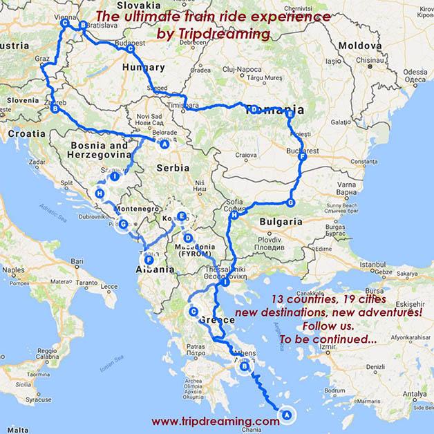 Mapa de nuestro itinerario. Todo el recorrido es en tren.