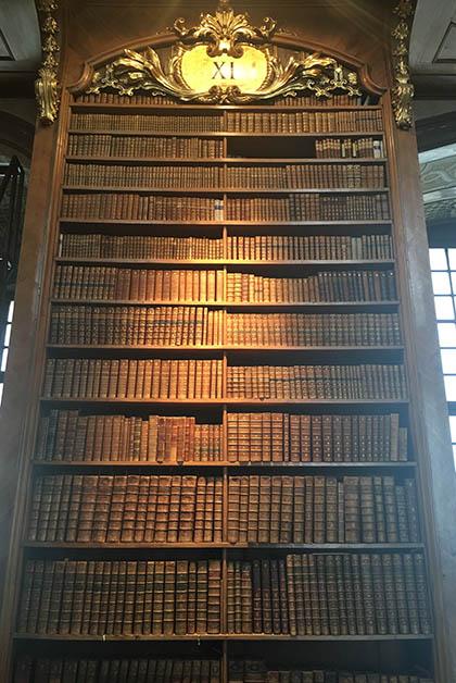 Uno de los libreros de madera. Foto © Silvia Lucero